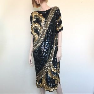 Vintage Fully Beaded Formal Evening Dress